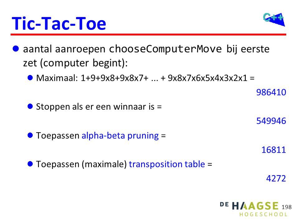 Tic-Tac-Toe  aantal aanroepen chooseComputerMove bij eerste zet (computer begint):  Maximaal: 1+9+9x8+9x8x7+... + 9x8x7x6x5x4x3x2x1 = 986410  Stopp