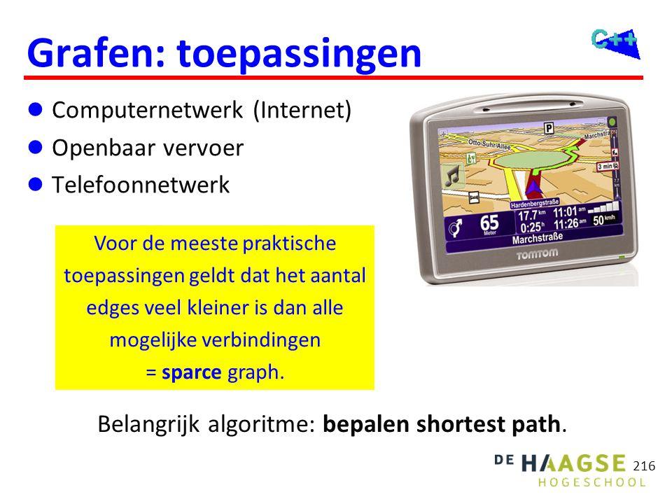 Grafen: toepassingen  Computernetwerk (Internet)  Openbaar vervoer  Telefoonnetwerk 216 Voor de meeste praktische toepassingen geldt dat het aantal
