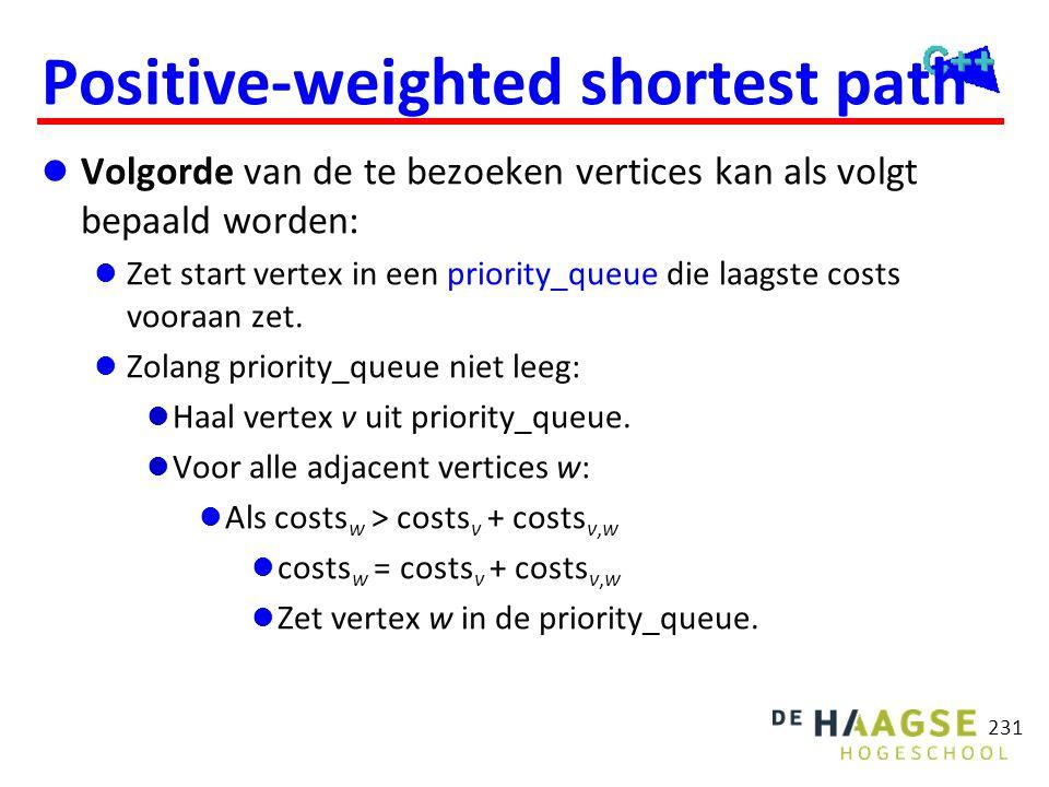 Positive-weighted shortest path  Volgorde van de te bezoeken vertices kan als volgt bepaald worden:  Zet start vertex in een priority_queue die laag