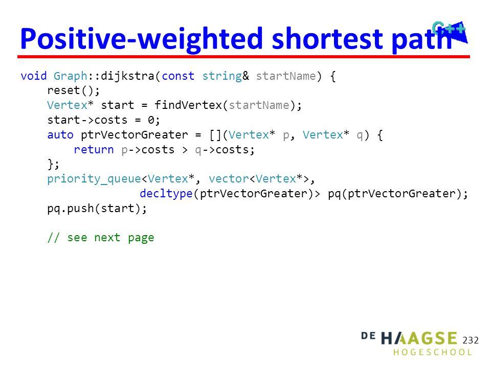 Positive-weighted shortest path void Graph::dijkstra(const string& startName) { reset(); Vertex* start = findVertex(startName); start->costs = 0; auto