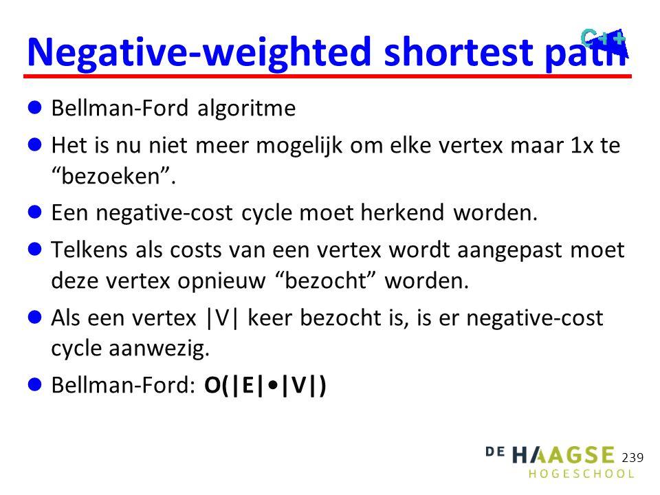 """Negative-weighted shortest path  Bellman-Ford algoritme  Het is nu niet meer mogelijk om elke vertex maar 1x te """"bezoeken"""".  Een negative-cost cycl"""