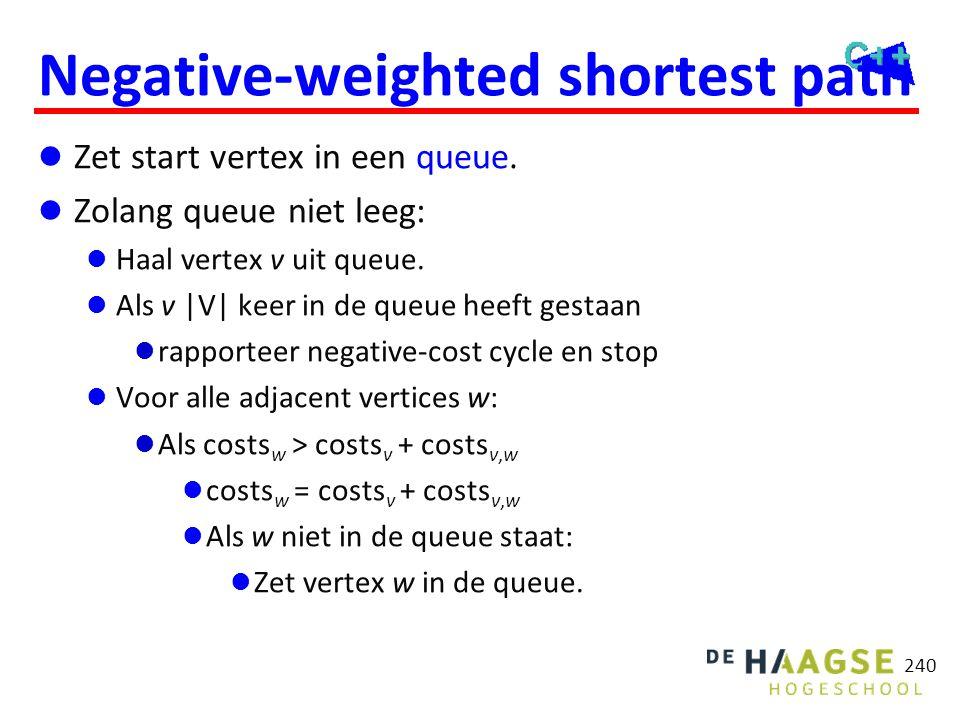 Negative-weighted shortest path  Zet start vertex in een queue.  Zolang queue niet leeg:  Haal vertex v uit queue.  Als v |V| keer in de queue hee