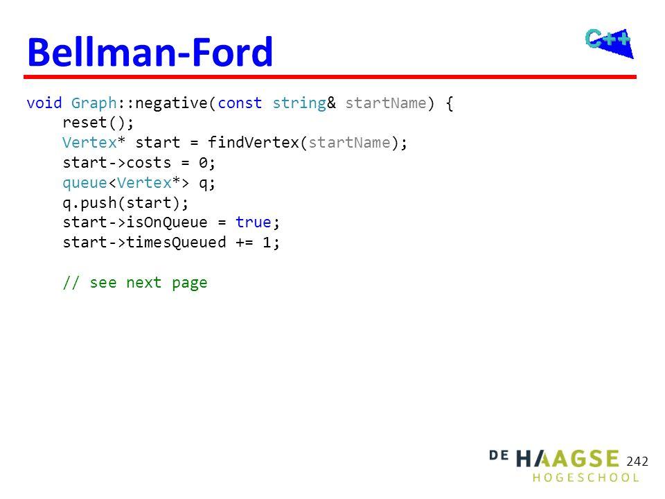 Bellman-Ford void Graph::negative(const string& startName) { reset(); Vertex* start = findVertex(startName); start->costs = 0; queue q; q.push(start);