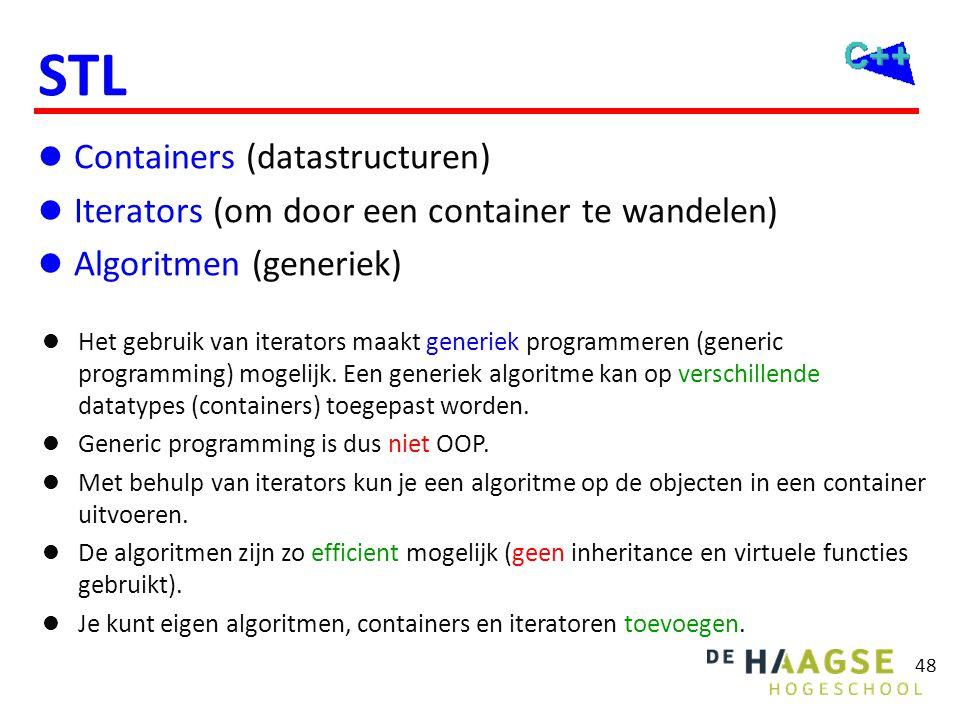 48 STL  Containers (datastructuren)  Iterators (om door een container te wandelen)  Algoritmen (generiek)  Het gebruik van iterators maakt generie