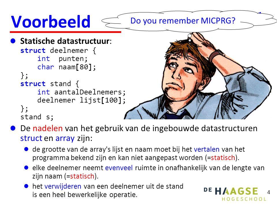 4 Voorbeeld  Statische datastructuur: struct deelnemer { int punten; char naam[80]; }; struct stand { int aantalDeelnemers; deelnemer lijst[100]; };