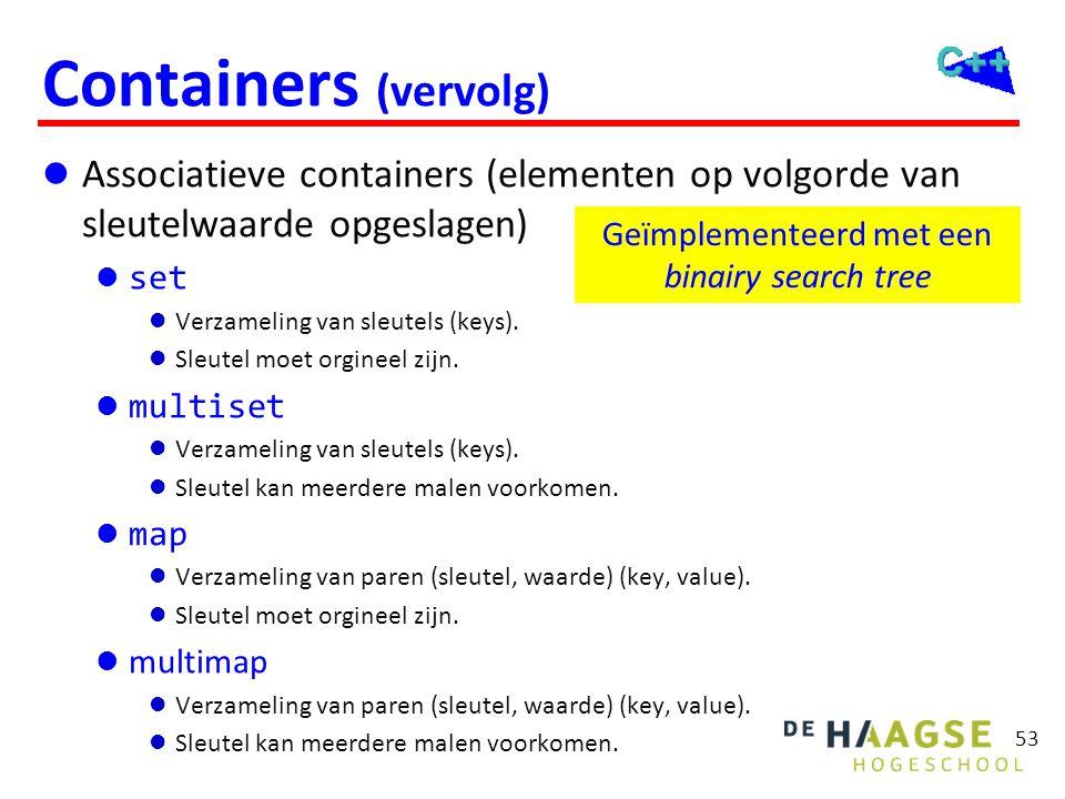 53 Containers (vervolg)  Associatieve containers (elementen op volgorde van sleutelwaarde opgeslagen)  set  Verzameling van sleutels (keys).  Sleu