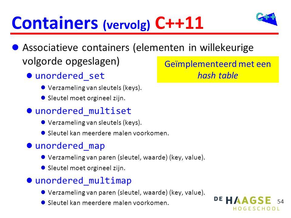 54 Containers (vervolg) C++11  Associatieve containers (elementen in willekeurige volgorde opgeslagen)  unordered_set  Verzameling van sleutels (ke