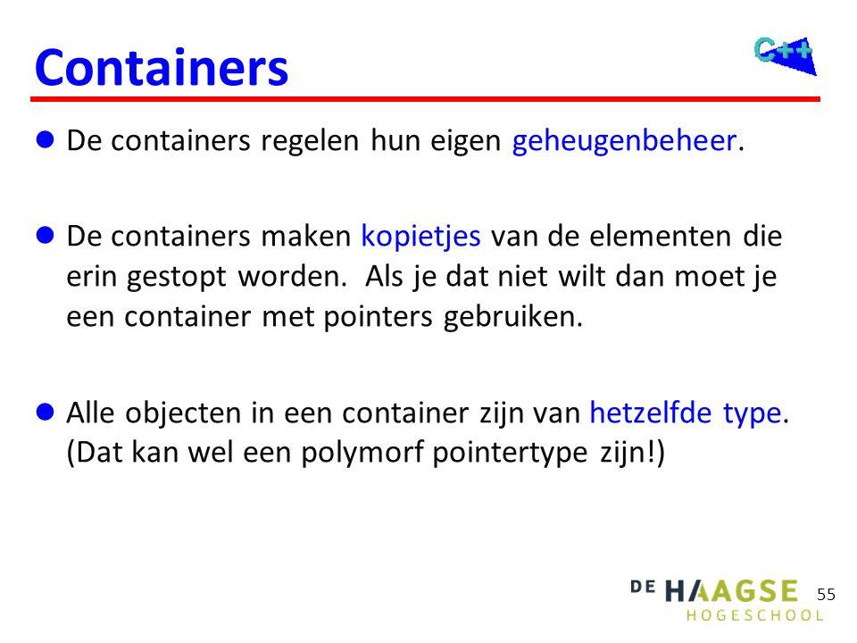 55 Containers  De containers regelen hun eigen geheugenbeheer.  De containers maken kopietjes van de elementen die erin gestopt worden. Als je dat n
