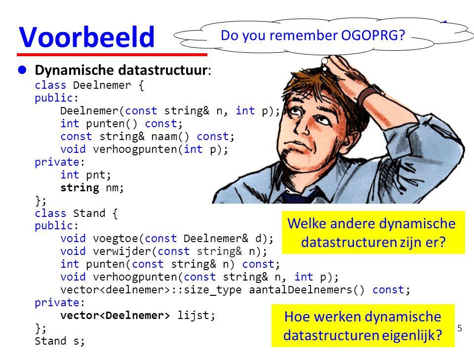 5 Voorbeeld  Dynamische datastructuur: class Deelnemer { public: Deelnemer(const string& n, int p); int punten() const; const string& naam() const; v