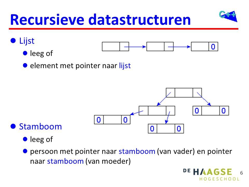 6 Recursieve datastructuren  Lijst  leeg of  element met pointer naar lijst  Stamboom  leeg of  persoon met pointer naar stamboom (van vader) en