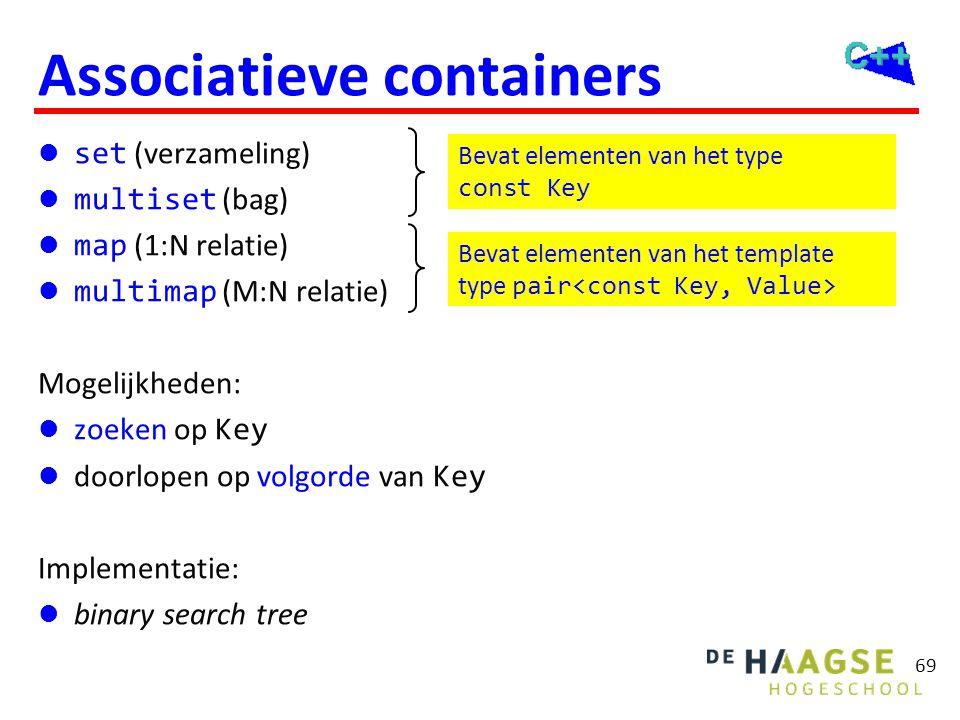 69 Associatieve containers  set (verzameling)  multiset (bag)  map (1:N relatie)  multimap (M:N relatie) Mogelijkheden:  zoeken op Key  doorlope