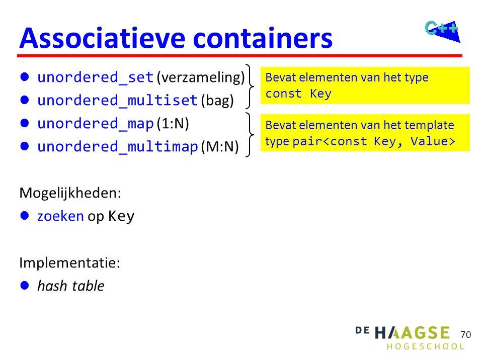 70 Associatieve containers  unordered_set (verzameling)  unordered_multiset (bag)  unordered_map (1:N)  unordered_multimap (M:N) Mogelijkheden: 