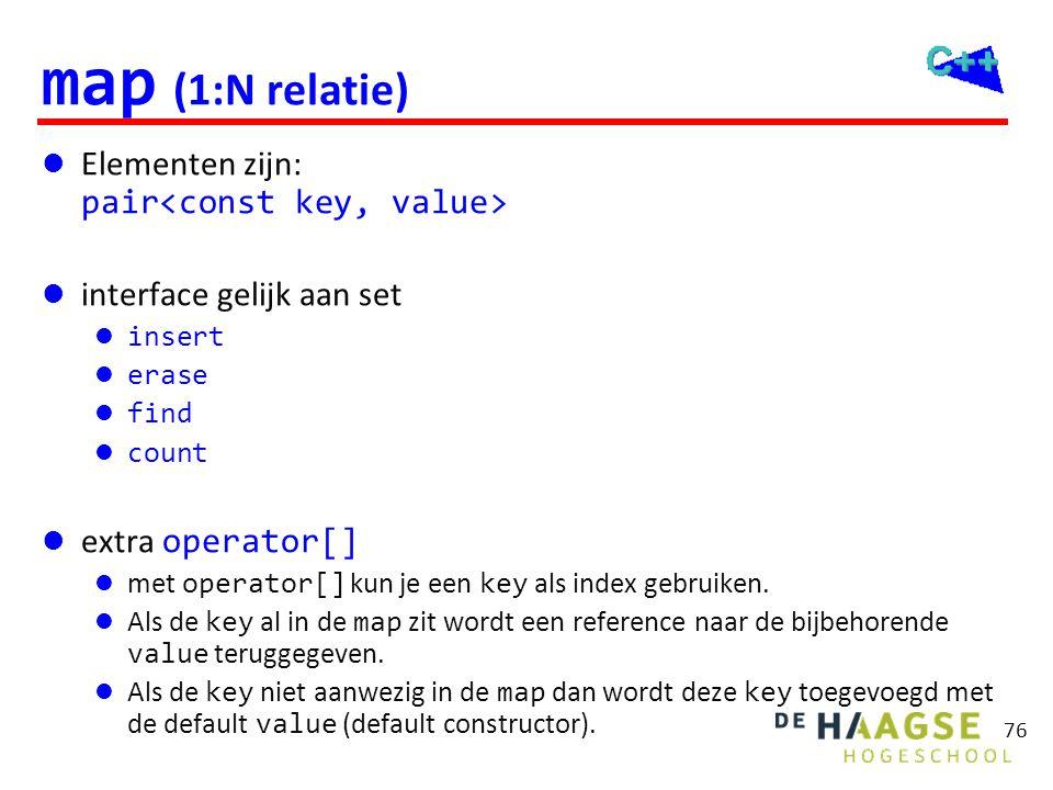 76 map (1:N relatie)  Elementen zijn: pair  interface gelijk aan set  insert  erase  find  count  extra operator[]  met operator[] kun je een