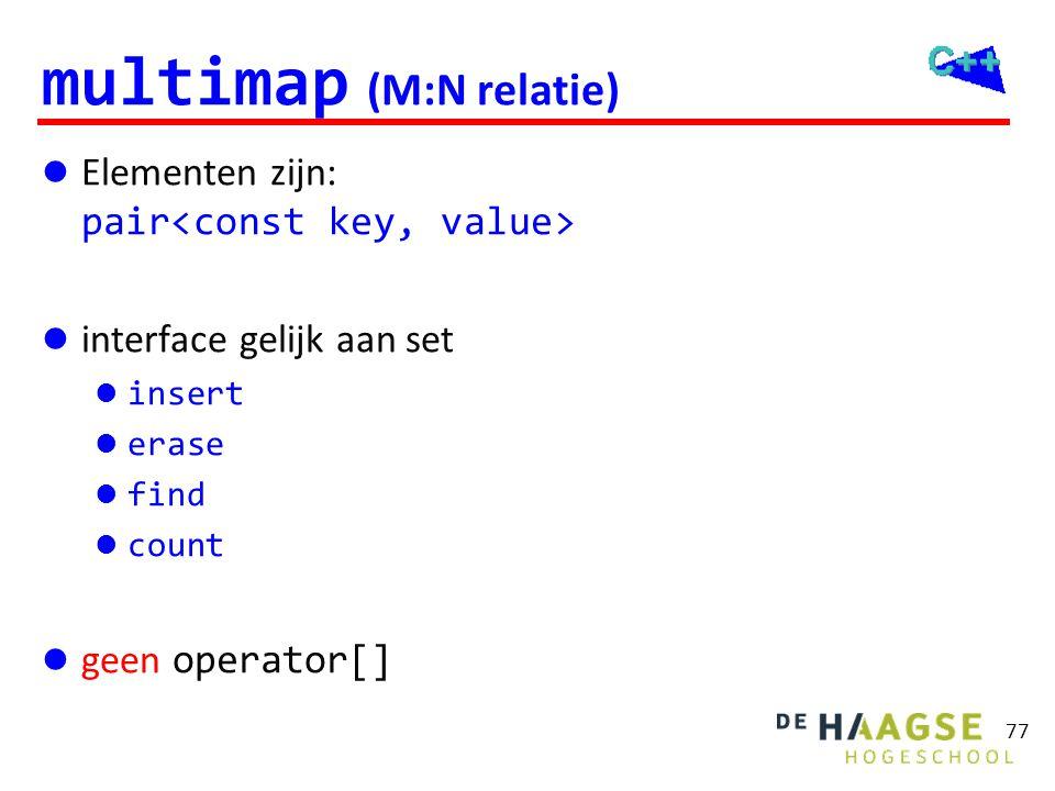 77 multimap (M:N relatie)  Elementen zijn: pair  interface gelijk aan set  insert  erase  find  count  geen operator[]