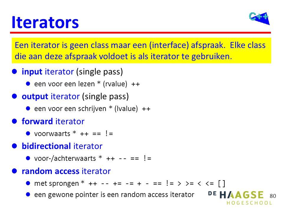 80 Iterators  input iterator (single pass)  een voor een lezen * (rvalue) ++  output iterator (single pass)  een voor een schrijven * (lvalue) ++
