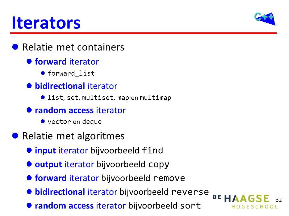 82 Iterators  Relatie met containers  forward iterator  forward_list  bidirectional iterator  list, set, multiset, map en multimap  random acces