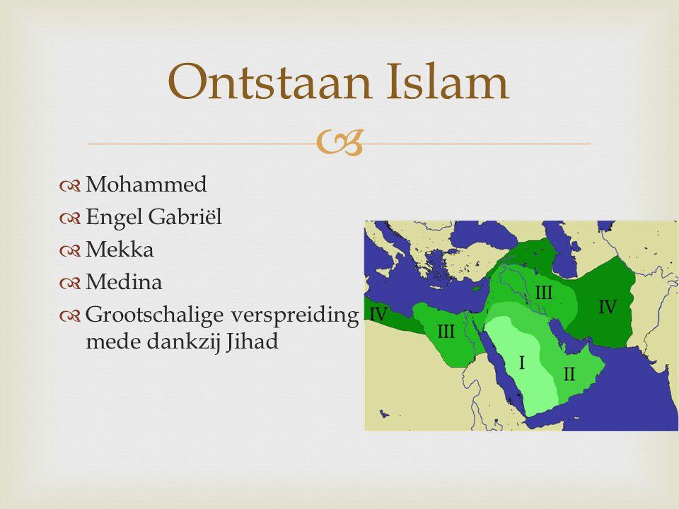   Mohammed  Engel Gabriël  Mekka  Medina  Grootschalige verspreiding mede dankzij Jihad Ontstaan Islam