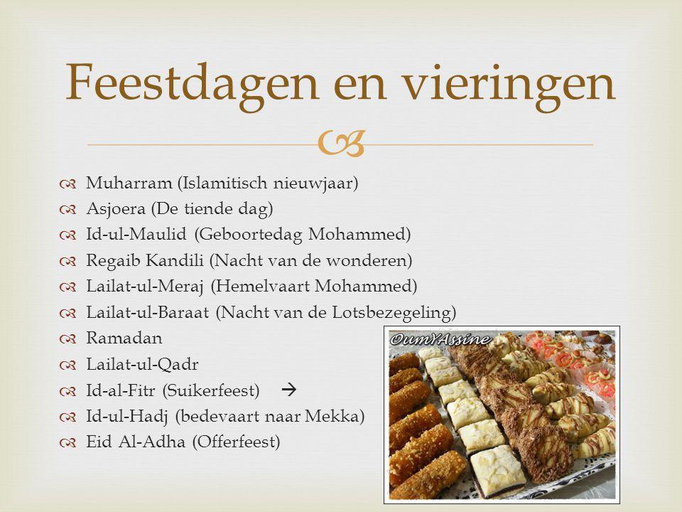   Muharram (Islamitisch nieuwjaar)  Asjoera (De tiende dag)  Id-ul-Maulid (Geboortedag Mohammed)  Regaib Kandili (Nacht van de wonderen)  Lailat