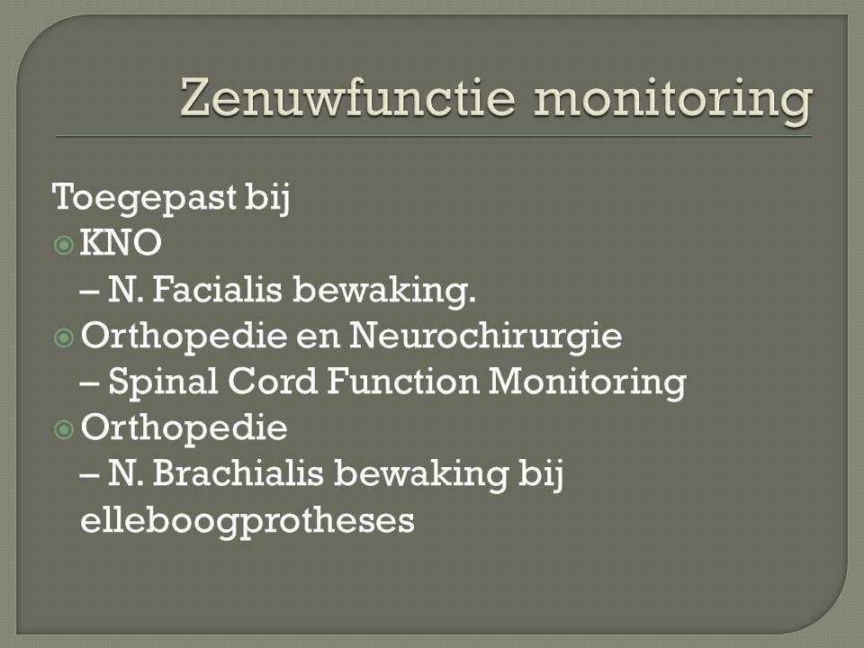 Toegepast bij  KNO – N. Facialis bewaking.  Orthopedie en Neurochirurgie – Spinal Cord Function Monitoring  Orthopedie – N. Brachialis bewaking bij