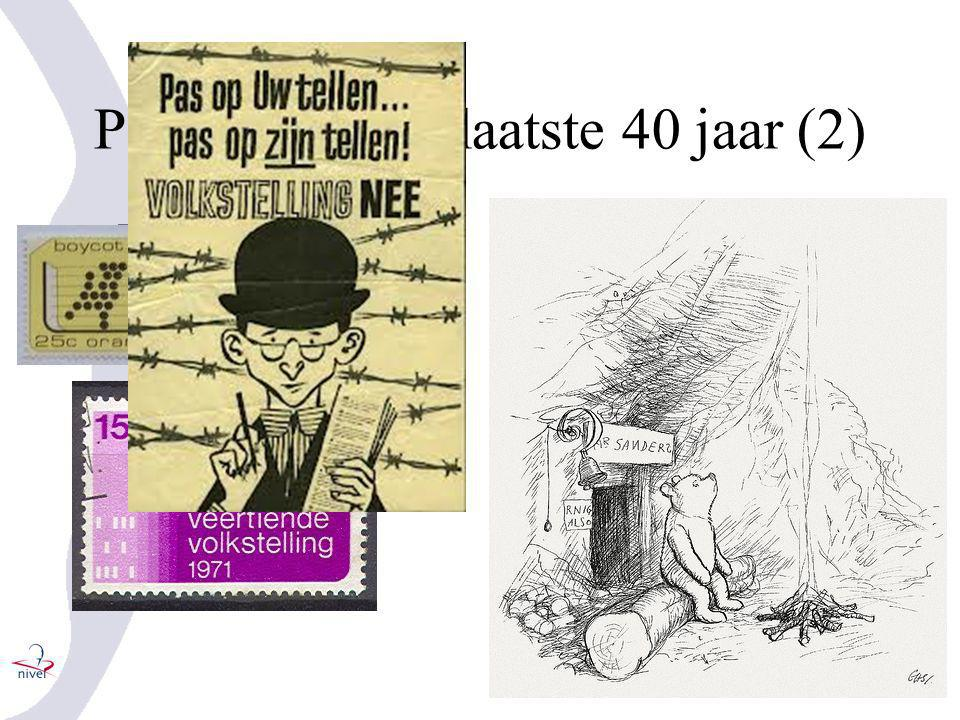 Periode van de laatste 40 jaar (2) •Volkstelling 1971 •Begin van de privacy bewustwording •Trusted third parties •Remote access •Pseudonimisering