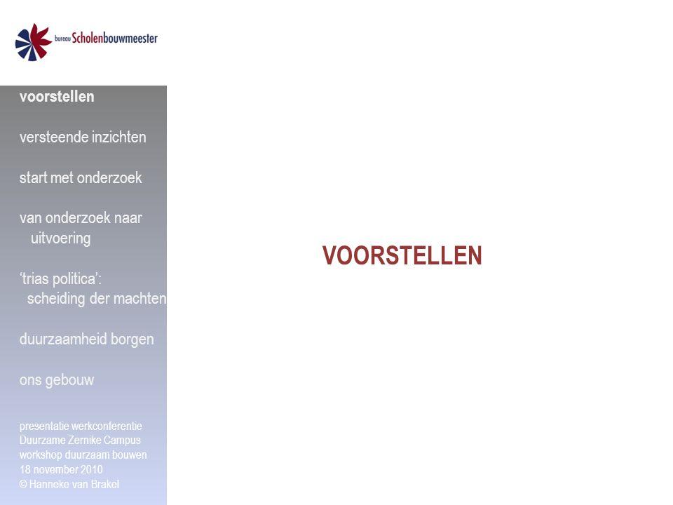 Stichting Scholenbouwmeester Noord Nederland expertise centrum voor de onderwijshuisvesting ontstaan op gezamenlijk initiatief 3 noordelijke provincies TAAK onderzoek, kennisontwikkeling en kennisdeling ten behoeve van: gemeenten, provincie, Rijk schoolbesturen WERKGEBIED Groningen, Drenthe, Fryslân voorstellen versteende inzichten start met onderzoek van onderzoek naar uitvoering 'trias politica': scheiding der machten duurzaamheid borgen ons gebouw presentatie werkconferentie Duurzame Zernike Campus workshop duurzaam bouwen 18 november 2010 © Hanneke van Brakel