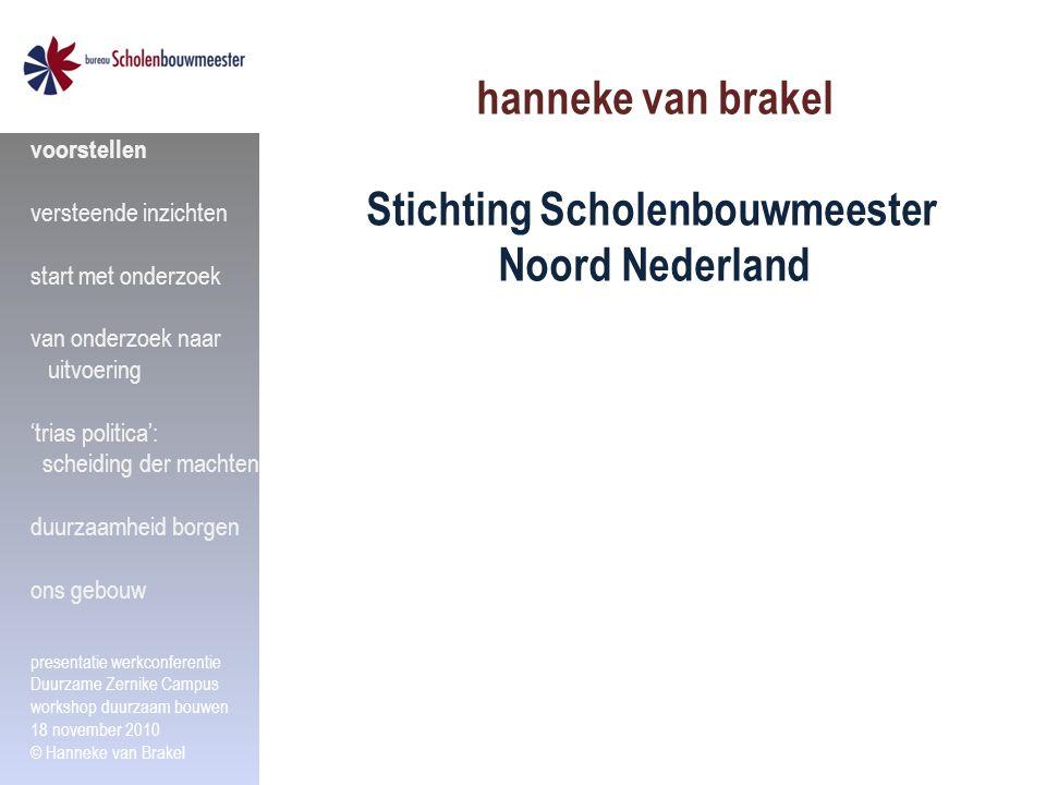hanneke van brakel Stichting Scholenbouwmeester Noord Nederland voorstellen versteende inzichten start met onderzoek van onderzoek naar uitvoering 'tr