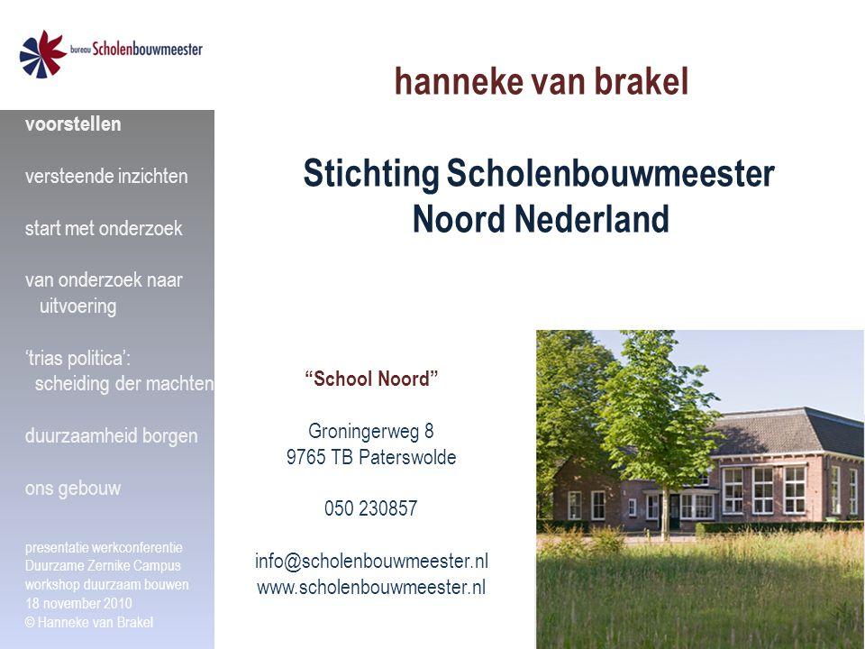 """hanneke van brakel Stichting Scholenbouwmeester Noord Nederland """"School Noord"""" Groningerweg 8 9765 TB Paterswolde 050 230857 info@scholenbouwmeester.n"""