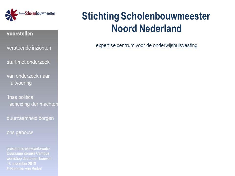 Stichting Scholenbouwmeester Noord Nederland expertise centrum voor de onderwijshuisvesting voorstellen versteende inzichten start met onderzoek van o