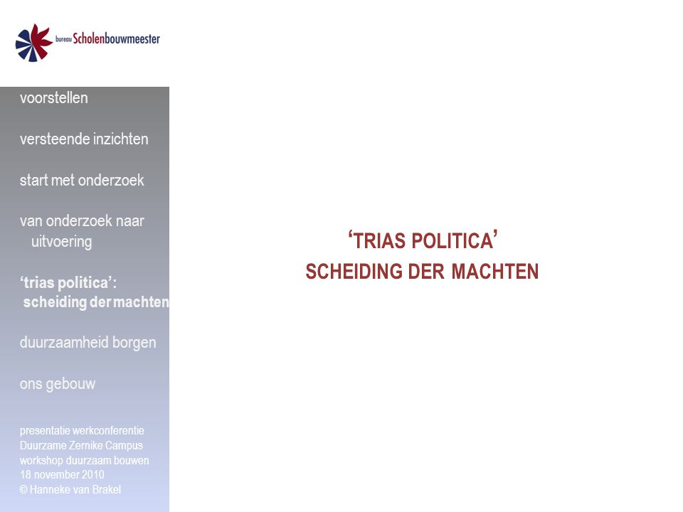 ' TRIAS POLITICA ' SCHEIDING DER MACHTEN voorstellen versteende inzichten start met onderzoek van onderzoek naar uitvoering 'trias politica': scheidin