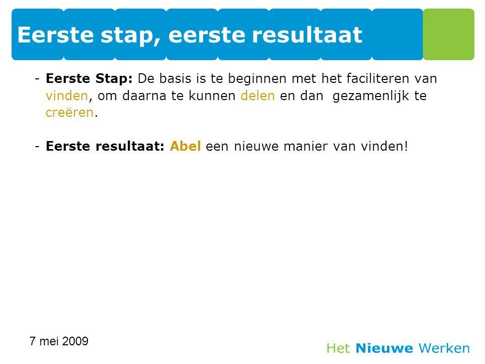 -Eerste Stap: De basis is te beginnen met het faciliteren van vinden, om daarna te kunnen delen en dan gezamenlijk te creëren. -Eerste resultaat: Abel