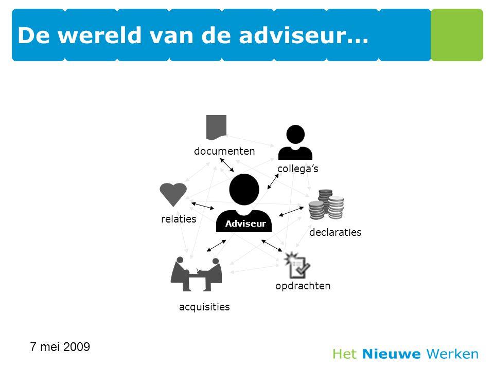 De wereld van de adviseur… 7 mei 2009 13 Adviseur relatiesdocumenten acquisities opdrachten declaraties collega's