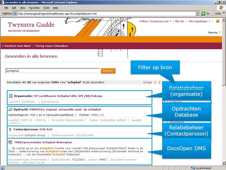 Relatiebeheer (organisatie) Relatiebeheer (organisatie) Filter op bron Opdrachten Database Relatiebeheer (Contactpersoon) Relatiebeheer (Contactpersoon) DocsOpen DMS
