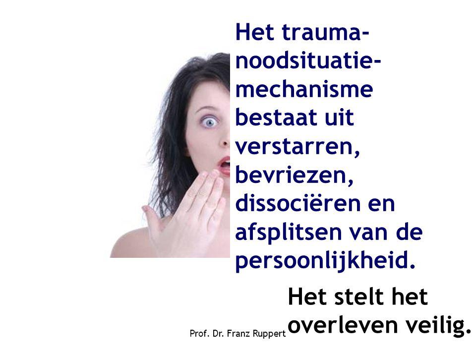 Prof. Dr. Franz Ruppert Het trauma- noodsituatie- mechanisme bestaat uit verstarren, bevriezen, dissociëren en afsplitsen van de persoonlijkheid. Het