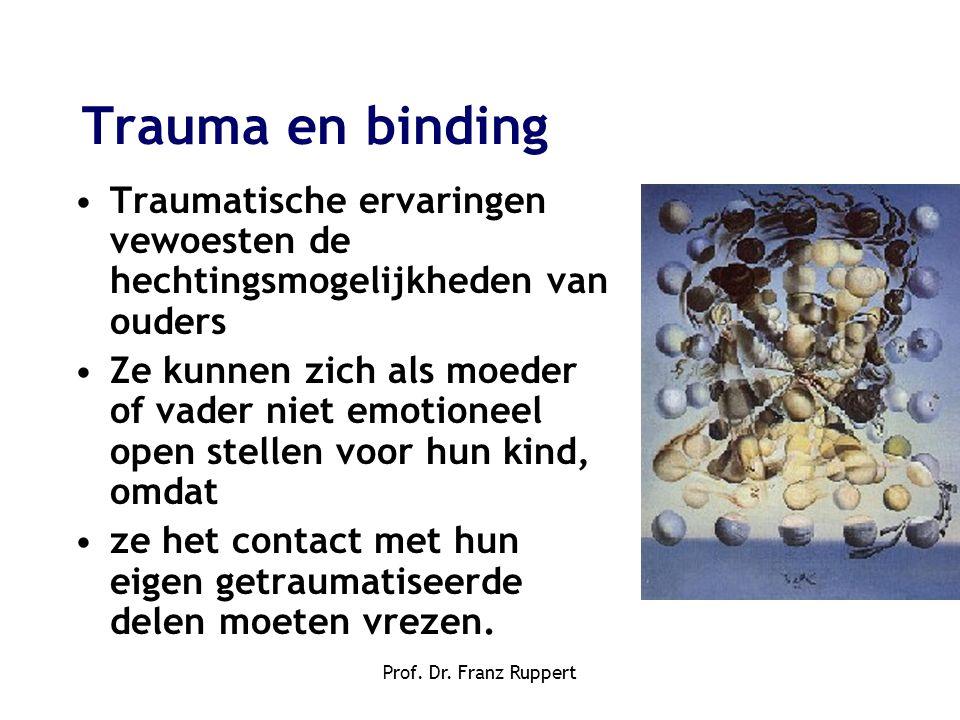 Prof. Dr. Franz Ruppert •Traumatische ervaringen vewoesten de hechtingsmogelijkheden van ouders •Ze kunnen zich als moeder of vader niet emotioneel op