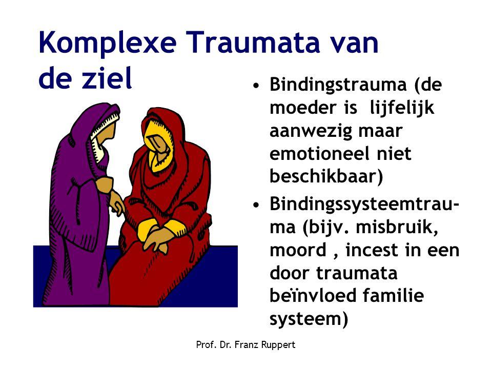 Prof. Dr. Franz Ruppert Komplexe Traumata van de ziel •Bindingstrauma (de moeder is lijfelijk aanwezig maar emotioneel niet beschikbaar) •Bindingssyst