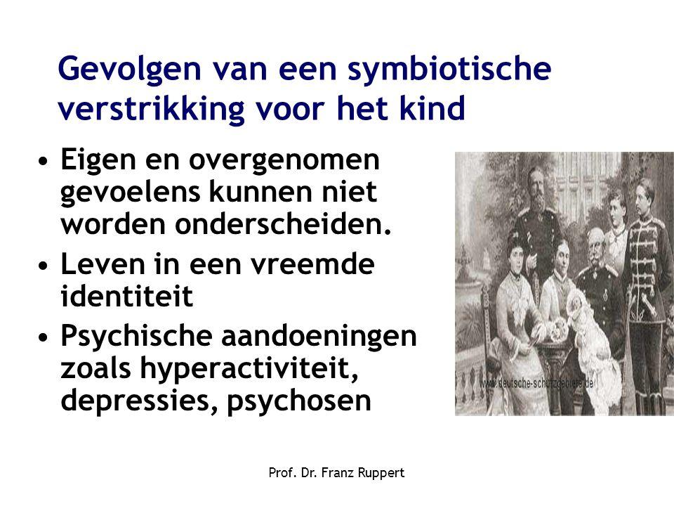 Prof. Dr. Franz Ruppert •Eigen en overgenomen gevoelens kunnen niet worden onderscheiden. •Leven in een vreemde identiteit •Psychische aandoeningen zo