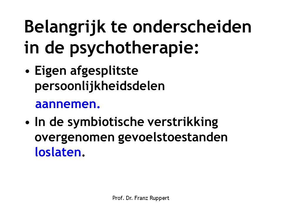 Prof. Dr. Franz Ruppert Belangrijk te onderscheiden in de psychotherapie: •Eigen afgesplitste persoonlijkheidsdelen aannemen. •In de symbiotische vers