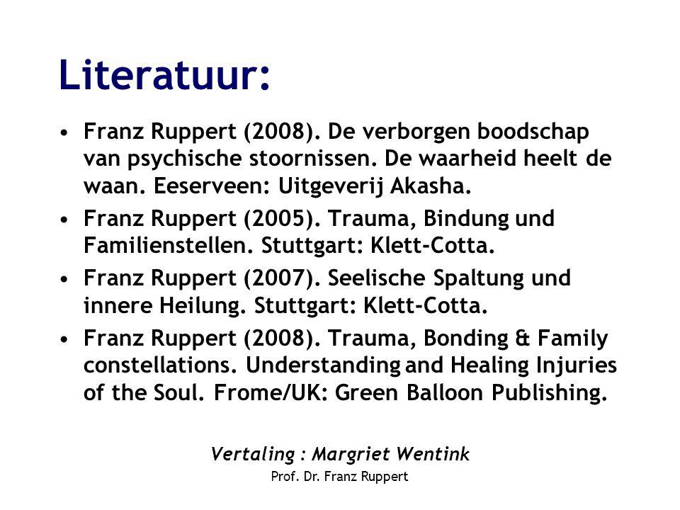 Literatuur: •Franz Ruppert (2008). De verborgen boodschap van psychische stoornissen. De waarheid heelt de waan. Eeserveen: Uitgeverij Akasha. •Franz