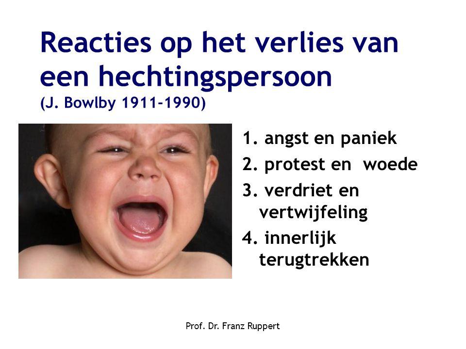 Prof. Dr. Franz Ruppert Reacties op het verlies van een hechtingspersoon (J. Bowlby 1911-1990) 1. angst en paniek 2. protest en woede 3. verdriet en v