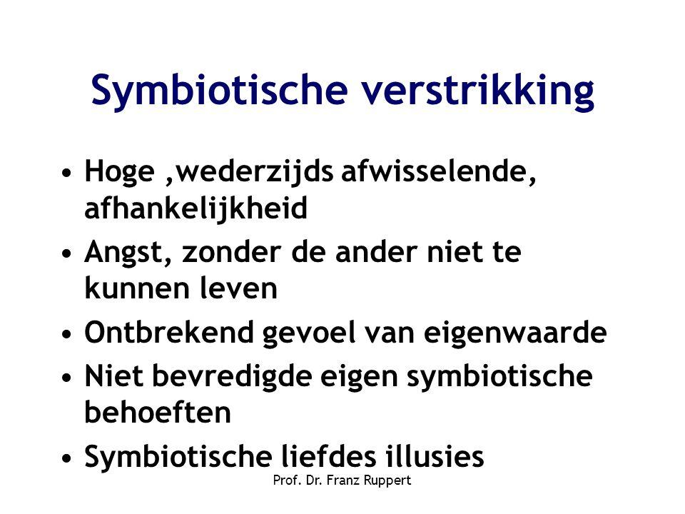 Prof. Dr. Franz Ruppert Symbiotische verstrikking •Hoge,wederzijds afwisselende, afhankelijkheid •Angst, zonder de ander niet te kunnen leven •Ontbrek