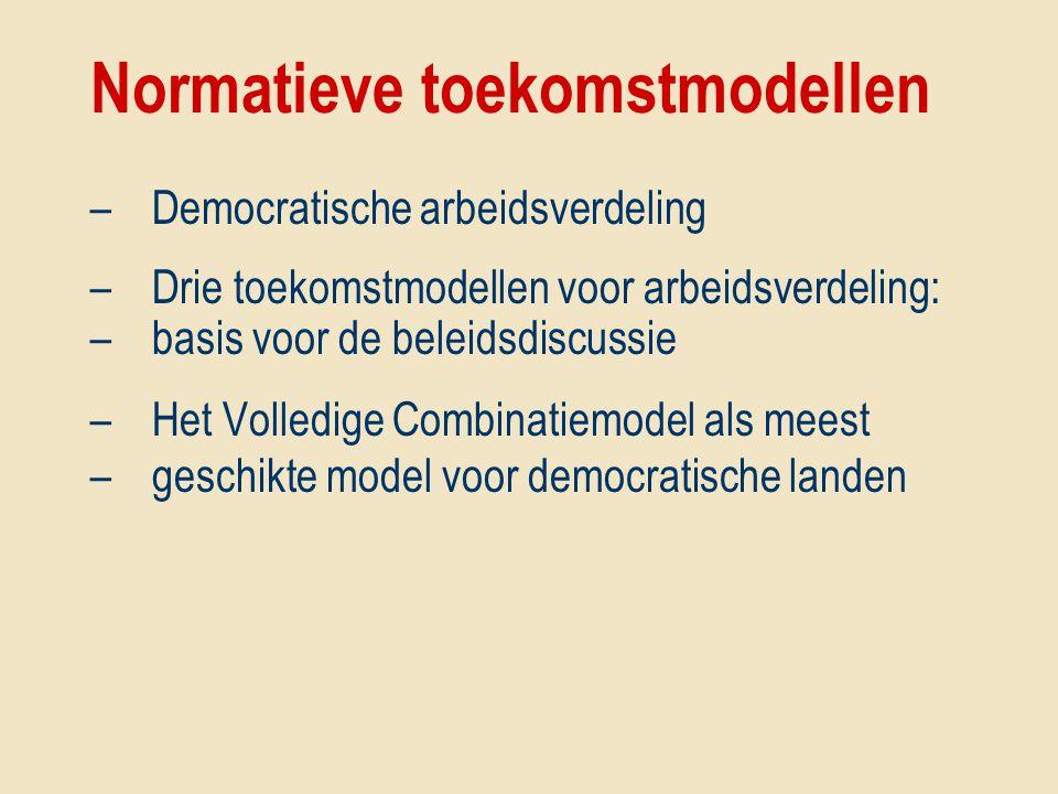 Normatieve toekomstmodellen –Democratische arbeidsverdeling –Drie toekomstmodellen voor arbeidsverdeling: –basis voor de beleidsdiscussie –Het Volledi