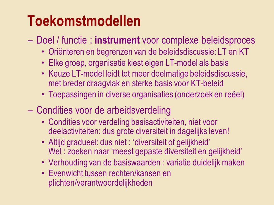 Toekomstmodellen –Doel / functie : instrument voor complexe beleidsproces •Oriënteren en begrenzen van de beleidsdiscussie: LT en KT •Elke groep, orga