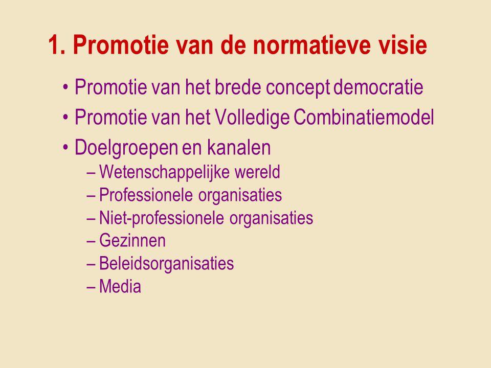 1. Promotie van de normatieve visie •Promotie van het brede concept democratie •Promotie van het Volledige Combinatiemodel •Doelgroepen en kanalen –We