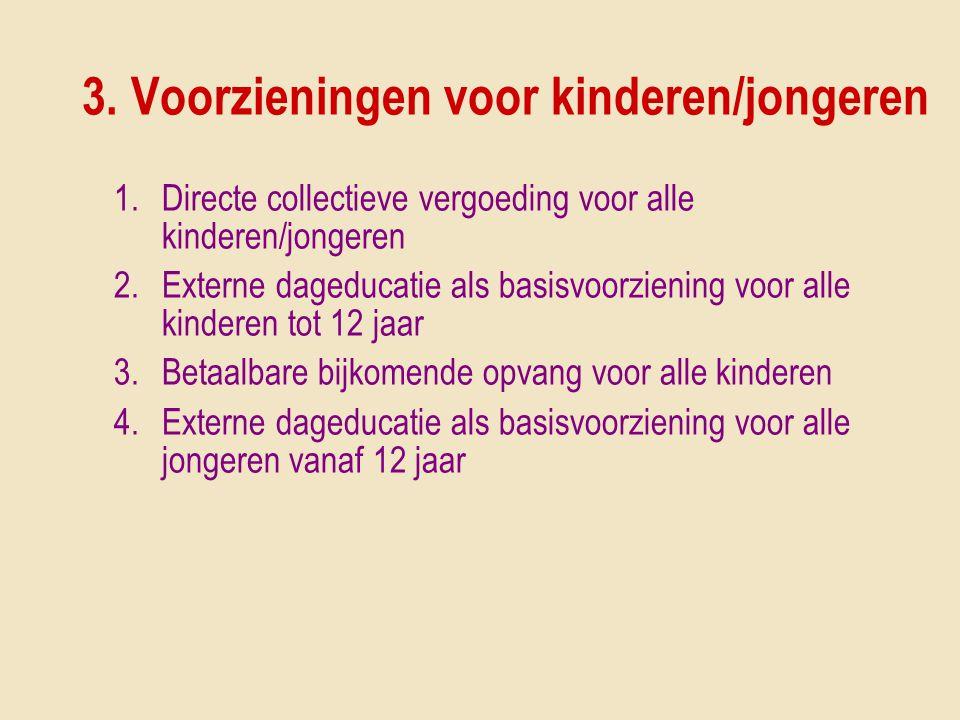 3. Voorzieningen voor kinderen/jongeren 1.Directe collectieve vergoeding voor alle kinderen/jongeren 2.Externe dageducatie als basisvoorziening voor a