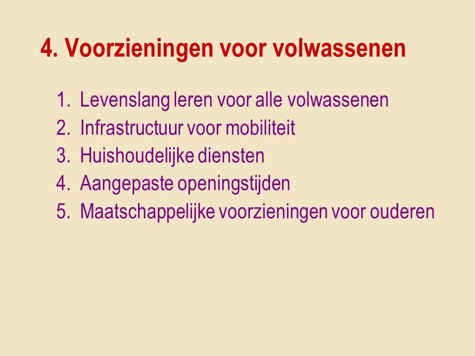 4. Voorzieningen voor volwassenen 1.Levenslang leren voor alle volwassenen 2.Infrastructuur voor mobiliteit 3.Huishoudelijke diensten 4.Aangepaste ope