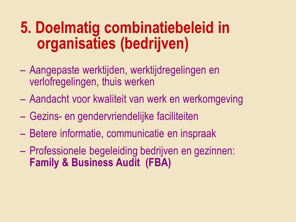 5. Doelmatig combinatiebeleid in organisaties (bedrijven) –Aangepaste werktijden, werktijdregelingen en verlofregelingen, thuis werken –Aandacht voor