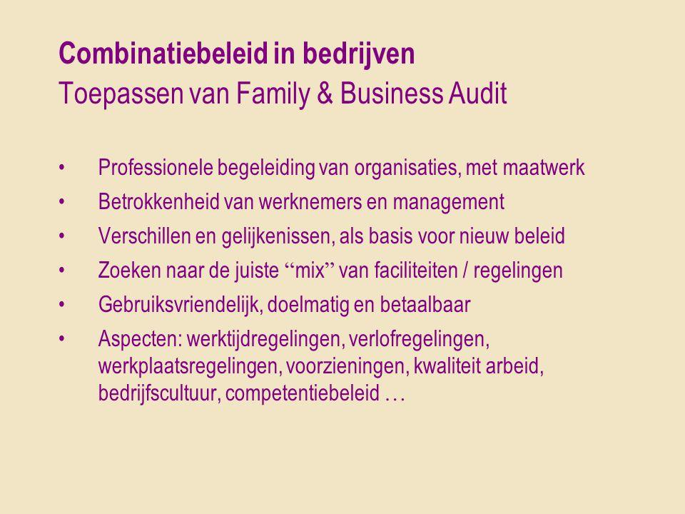 Combinatiebeleid in bedrijven Toepassen van Family & Business Audit •Professionele begeleiding van organisaties, met maatwerk •Betrokkenheid van werkn