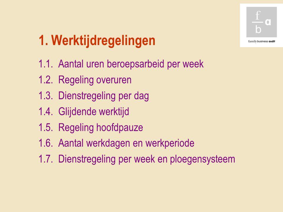 1. Werktijdregelingen 1.1. Aantal uren beroepsarbeid per week 1.2. Regeling overuren 1.3. Dienstregeling per dag 1.4. Glijdende werktijd 1.5. Regeling