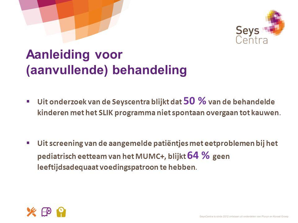 Aanleiding voor (aanvullende) behandeling  Uit onderzoek van de Seyscentra blijkt dat 50 % van de behandelde kinderen met het SLIK programma niet spo