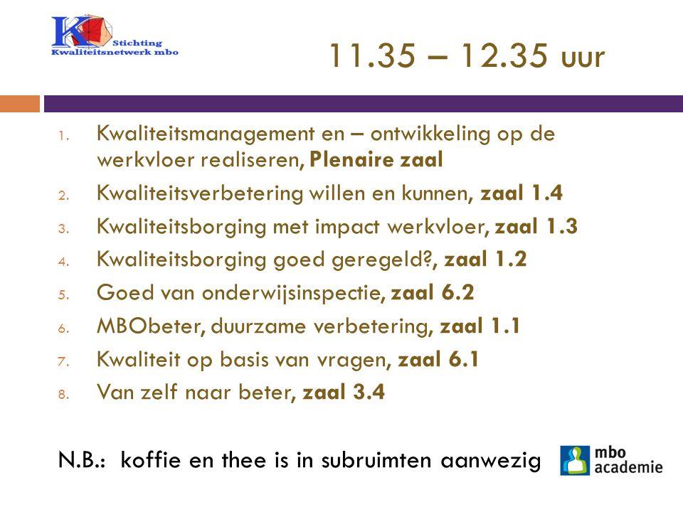 11.35 – 12.35 uur 1. Kwaliteitsmanagement en – ontwikkeling op de werkvloer realiseren, Plenaire zaal 2. Kwaliteitsverbetering willen en kunnen, zaal
